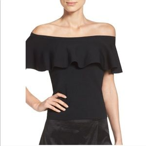 Eliza J black offshoulder Santana knit blouse top